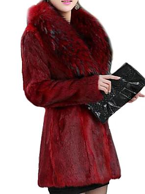 Feminino Casaco de Pêlo Festa/Coquetel / Casual Inverno, Sólido Vermelho / Preto Pêlo Sintético Decote V-Manga Longa Grossa