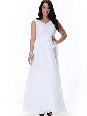 søde kurve kvinders strand løs / swing kjole, fast / print v hals midi ærmeløs hvid polyester / spandex sommer