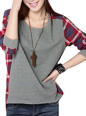 Women's Plaid Splicing Round Collar T-shirt