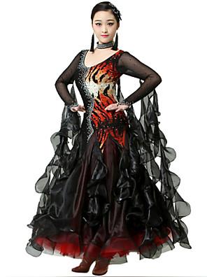 ריקודים סלוניים שמלות בגדי ריקוד נשים ביצועים ספנדקס / קרפ קריסטלים / rhinestones 2 חלקים Neckwear / שמלותDress length S:128cm / M:129cm