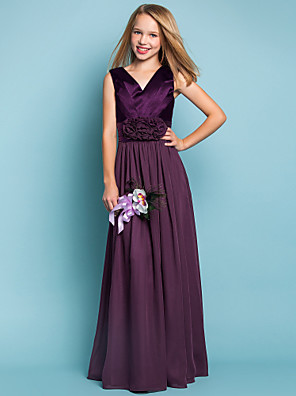 Floor-length Chiffon / Stretch Satin Junior Bridesmaid Dress Sheath / Column V-neck Natural withFlower(s) / Sash / Ribbon / Criss Cross /