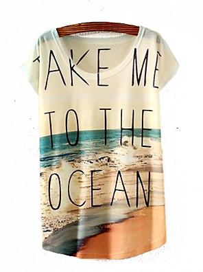 De las mujeres Primavera / Verano / Otoño Camiseta,Escote Redondo Estampado Manga Corta Algodón / Otro Multicolor Fino