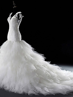 Trumpet/Mermaid Wedding Dress-White Court Train V Neck Lace Tulle