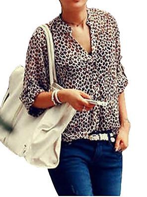 dámské leopard límec šifon obrubovací dlouhý rukáv šifon halenka košile plus velikosti