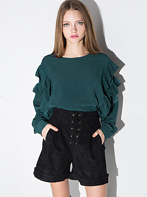 Women's Solid Green Shirt , Round Neck Long Sleeve
