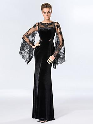 Formeller Abend Kleid Eng anliegend Rundhalsausschnitt Boden-Länge Samt mit Spitze