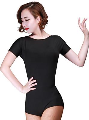 Dança Latina Malha Mulheres Actuação Fibra de Leite Plissado 1 Peça Manga Curta Malha Collant M:70cm-71cm L:70cm-71cm XL:70cm-71cm