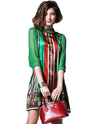 여성의 빈티지 루즈핏 드레스 프린트 무릎 위 터틀넥 실크 / 폴리에스테르 / 그외
