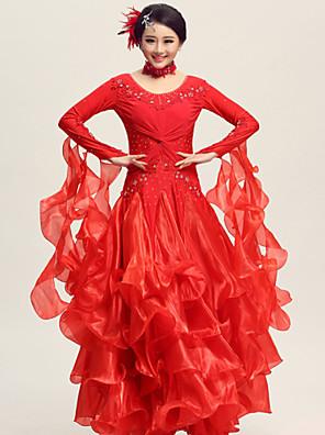 ריקודים סלוניים שמלות בגדי ריקוד נשים ביצועים ספנדקס / פוליאסטר / קרפ עטוף 2 חלקים שמלות / NeckwearDress S:1266cm / M:127cm / L:128cm /
