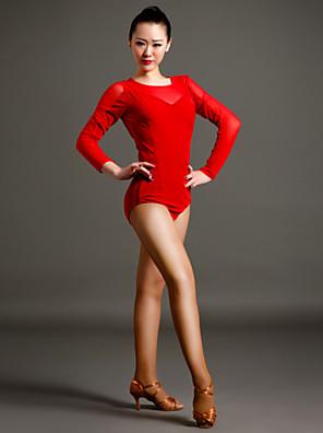 Dança Latina Malha Mulheres Actuação Tule / Veludo Plissado 1 Peça Manga Comprida Malha Collant S:70cm  M:70cm L:70cm XL:70cm XXL:70cm