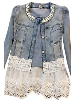 Dámské Patchwork Vintage Kabát-Všechna období Dlouhý rukáv Modrá Střední