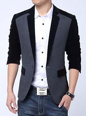 Men's Work / Plus Size / Casual/Daily Blazer,Solid Long Sleeve Cashmere / Cotton