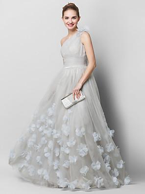 TS couture® 공식적인 저녁 꽃 (들) / 골 십자가로 하나의 어깨 청소 / 브러쉬 기차 얇은 명주 그물 A 라인 드레스