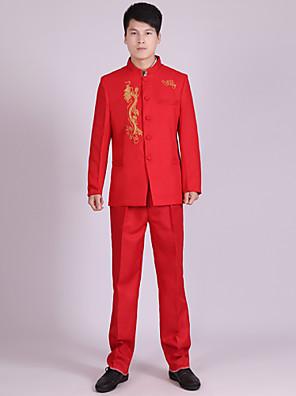 Obleky Na míru Stojáčkový límec Dvouřadové sako s více knoflíky Polyester Vzory 2 ks Červená