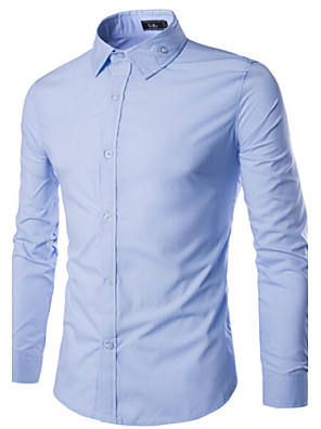 Jednoduché - Do obleku - Dlouhý rukáv - Košile ( Růžová / Světle modrá / Fialová / Bílá / Tmavě červená , Bavlna )