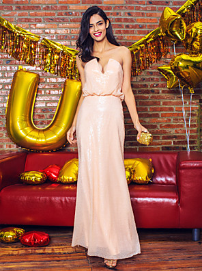 Formal Evening Dress Sheath / Column Strapless / V-neck Floor-length Sequined with Sequins