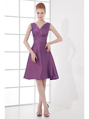 Lanting Bride® Ke kolenům Taft Šaty pro družičky - A-Linie Do V s Mašle / Boční řasení