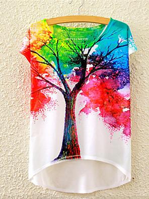 여성의 플로럴 라운드 넥 짧은 소매 티셔츠,귀여운 / 액티브 스포츠 멀티 색상 면 사계절 중간