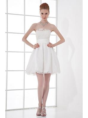 Lanting Bride® Krátký / Mini Taft Šaty pro družičky A-Linie Bez ramínek s Korálky / Mašle / Krajka