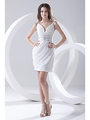 Lanting Bride® Krátký / Mini Šifón Šaty pro družičky Pouzdrové Špagetová ramínka s Perličky / Boční řasení