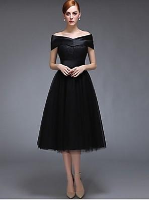 באורך הקרסול סאטן / טול שמלה לשושבינה  גזרת A מתחת לכתפיים עם תחרה