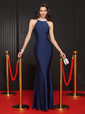 ts couture® שמלת ערב רשמית חצוצרה / בת ים ג'רזי מרצפת אורך תכשיט עם חרוזים