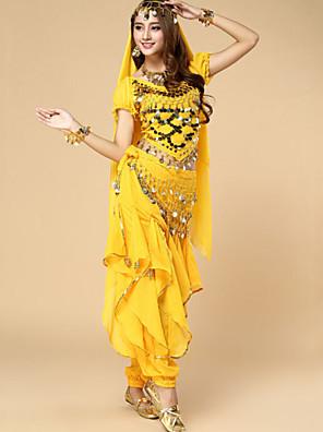 ריקוד בטן תלבושות בגדי ריקוד נשים ביצועים שיפון נצנצים 3 חלקים שרוול קצר נפול עליון / צעיף מותניים לריקודי בטן / מכנסיים 50-90