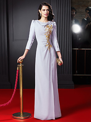 ts couture® שמלת ערב רשמית ג'ורג'ט מהרצפה אורך ברדס נדן / טור עם אפליקציות / תחרה