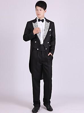 חליפות גזרה מחוייטת פתוח חזה כפול 6 כפתורים פוליאסטר דוגמאות 4 חלקים שחור / לבן / כסוף