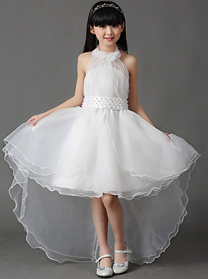 A-line Asymmetrical Flower Girl Dress - Cotton / Organza Sleeveless Halter with