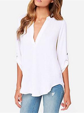 Damen Solide Übergröße Arbeit T-shirt,V-Ausschnitt Sommer Langarm Blau / Rot / Weiß / Schwarz / Grau / Orange Acryl / Polyester Dünn