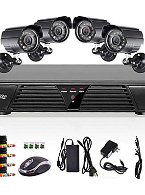 Liview® Überwachungsset - 4 Stk. Outdoor Tag / Nacht-Kameras, 8CH Full 960H, DVR,  600TVLine