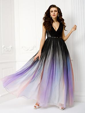 Serata formale Vestito - Colore graduale e sfumato A tubino A V Lungo Chiffon conFascia / fiocco in vita / Drappeggio di lato / A