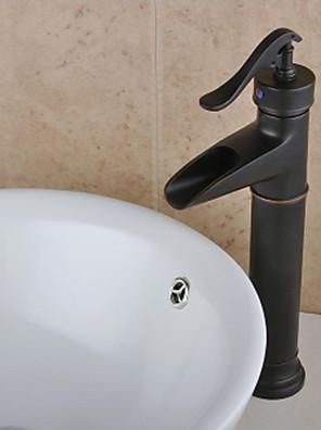 Antik Centersat Vandfald with  Keramik Ventil Enkelt håndtag Et Hul for  Olie-gnedet Bronze , Håndvasken vandhane