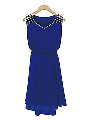 קיץ פוליאסטר כחול / שחור ללא שרוולים מעל הברך צווארון V אחיד פשוטה ליציאה שמלה שיפון / סווינג נשים,גיזרה בינונית (אמצע) מיקרו-אלסטי דק