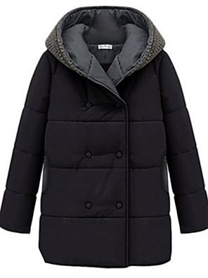 Women's Solid Black / Orange Padded Coat,Simple / Street chic Hooded Long Sleeve