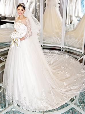 lanting는 라인 웨딩 드레스 예배당 기차 국자 레이스 / 얇은 명주 그물을 신부