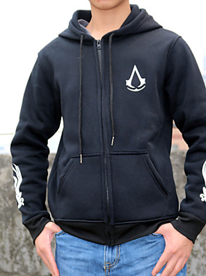 Inspirado por Assassin's Creed Fantasias Anime Fantasias de Cosplay Hoodies cosplay Estampado Preto Manga Comprida Top / Mais Acessórios