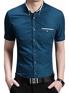 Men's Fashion Contrast Color Collar Slim Fit Dress Short Sleeved Shirt