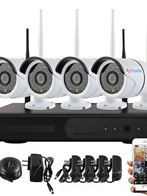 yanse® plug and play trådløse NVR kit p2p 960p hd udendørs / indendørs ir nattesyn sikkerhed ip kamera wifi CCTV-system
