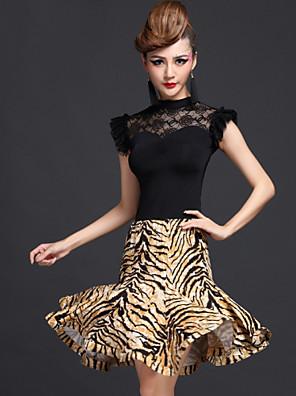 Latinské tance Úbory Dámské Výkon Čínský nylon / Viskóza / Süt Filtresi Nařasený 2 kusy Sukně / horní a dolní část)Dress length