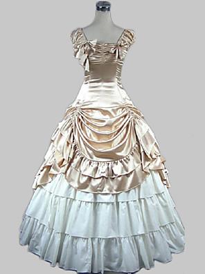 Vestido Lolita Longo, Modelo Princesa em Cetim de Algodão Bege.