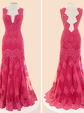Formal Evening Dress Trumpet / Mermaid V-neck Floor-length Lace / Tulle with Appliques