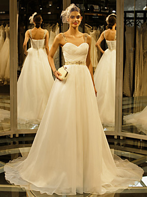 A-라인 웨딩 드레스 채플 트레인 스트랩 오간자 와 비즈 / 버튼 / 드레이프트