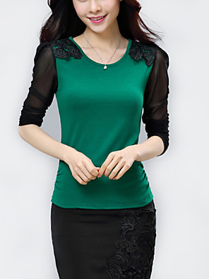 Blusa Da donna Casual Taglie forti Primavera,Monocolore Rotonda Nylon Rosso / Nero / Verde Manica lunga Medio spessore