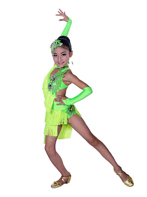 Dança Latina Vestidos Crianças Actuação Algodão / Elastano Cristal/Strass / Borla(s) 5 Peças Sem Mangas AltoLuvas / Vestidos / Neckwear /