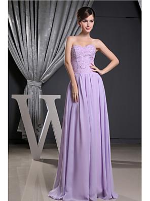 포멀 이브닝 드레스 A-라인 끈없는 스타일 바닥 길이 쉬폰 와 비즈