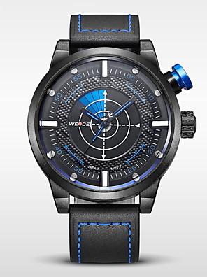 WEIDE® Men's Brand Luxury Military Fashion Black Leather Analog Quartz Watch Cool Watch Unique Watch