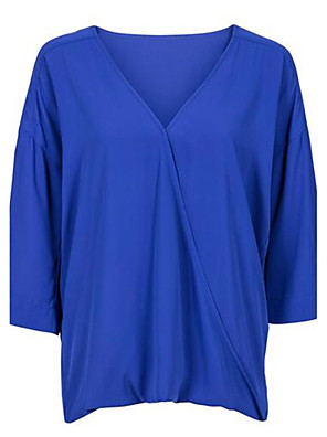 Women's Work Simple Summer Blouse,Solid Deep V Short Sleeve Blue Polyester Thin