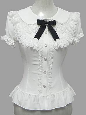 Blusa/Camisa Doce Princesa Cosplay Vestidos Lolita Branco Rendas Manga Curta Lolita Blusa Para Feminino Chiffon